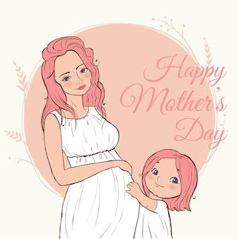 Piękna kobieta w ciąży. szczęśliwego dnia matki. ręcznie rysowane ilustracja