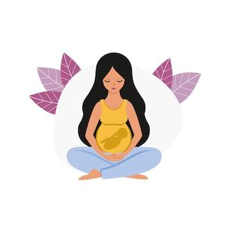 Piękna kobieta w ciąży z dużym brzuchem i dzieckiem siedzi w pozycji lotosu. ciąża, poród i macierzyństwo. płaskie ilustracje wektorowe. pojęcie rodzicielstwa. logo szpitala