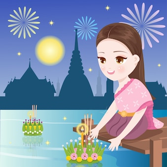 Piękna kobieta w nocy loi krathong