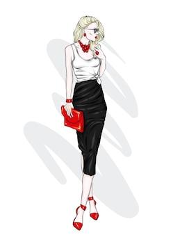 Piękna kobieta w stylowe ubrania
