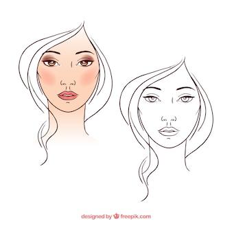 Piękna kobieta w stylu szkic