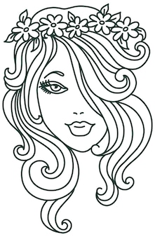 Piękna kobieta z kwiatem, liniowa ilustracja