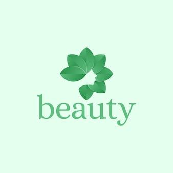 Piękna kobieta z logo sylwetka włosów liści