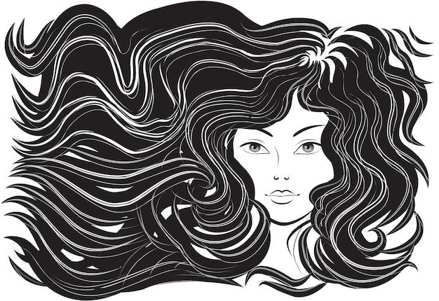 Piękna kobieta z rozwianymi włosami, ilustracja wektorowa, monochromatyczna