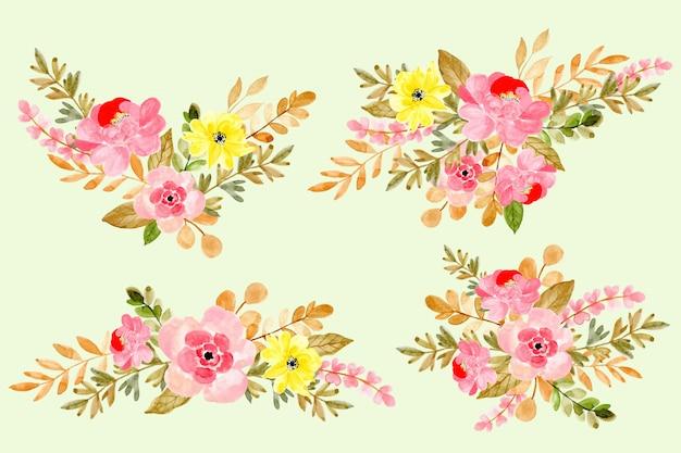 Piękna kolekcja akwarela kwiatów układ