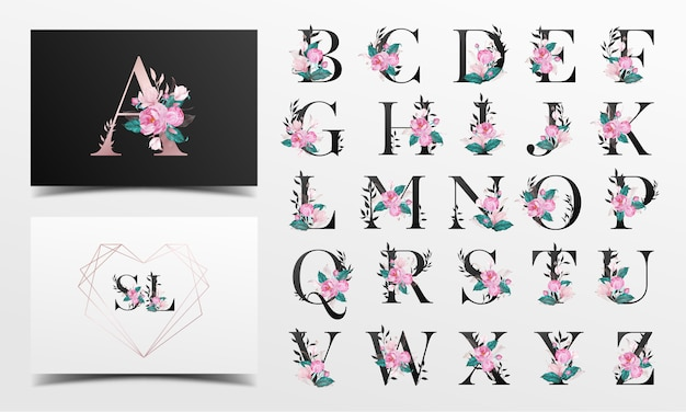 Piękna kolekcja alfabetu ozdobiona kwiecistym stylem akwareli