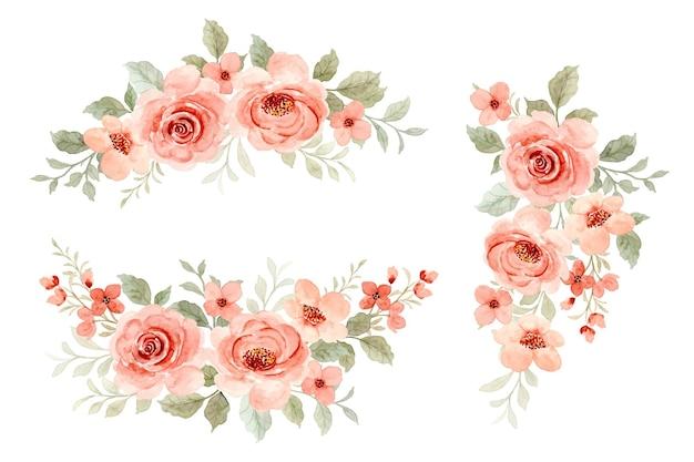 Piękna kolekcja bukiet kwiatów z akwarelą