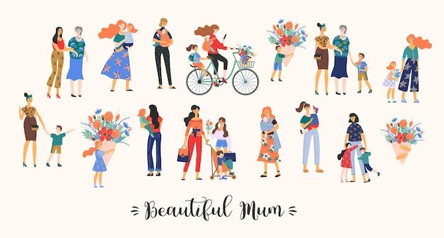 Piękna kolekcja dla mamy. matki z dziećmi.