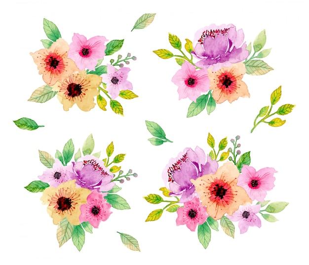 Piękna kolekcja kwiatowy układ akwarela