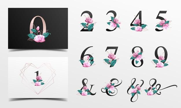 Piękna kolekcja liczb alfabetu ozdobiona różowym kwiatem malowanym akwarelą.