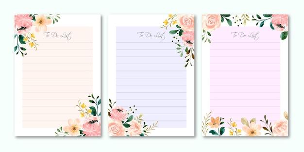 Piękna kolekcja listy rzeczy do zrobienia z akwarelą kwiatu róży