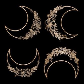 Piękna kolekcja logo kobiecego księżyca do edycji