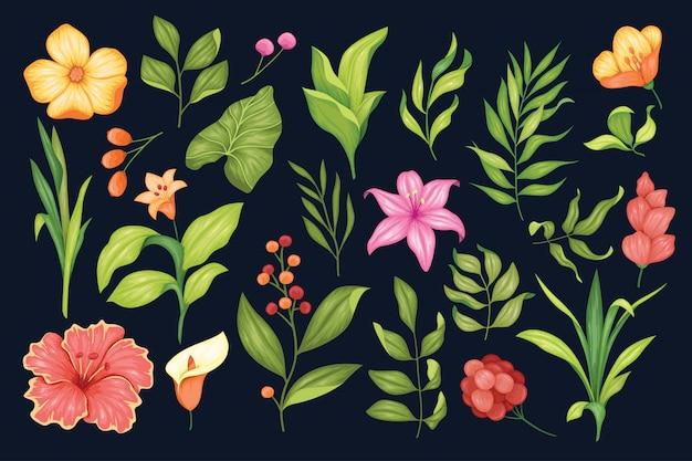Piękna kolekcja ręcznie rysowane kwiatowy