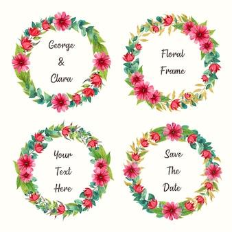 Piękna kolekcja wektorów akwarela wieniec kwiatowy na zaproszenie na ślub