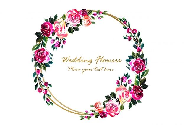 Piękna kolorowa dekoracyjna ślubna kwiecista rama