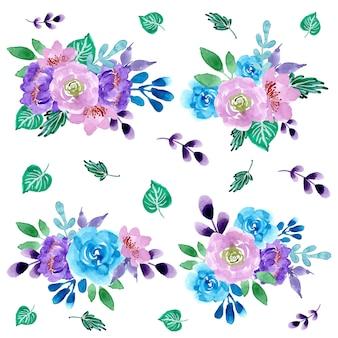 Piękna kompozycja kolekcji kwiatów akwarela