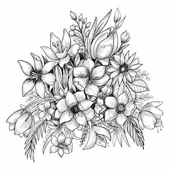 Piękna kompozycja kwiatowa ozdobny szkic