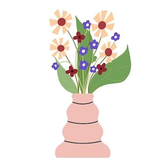 Piękna kompozycja kwitnąca z liśćmi i łodygą na białym tle. kwitnące rośliny i zioła. wspaniały bukiet kwiatów z ozdobnymi gałęziami w wazonie płaskie wektor ilustracja.