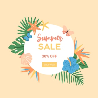 Piękna kompozycja na letnią wyprzedaż i promocję ze zniżkami lub reklama ozdobiona egzotycznymi liśćmi palmowymi, tropikalnymi kwiatami, motylami, muszelkami, rozgwiazdami. płaski kolorowy ilustracja