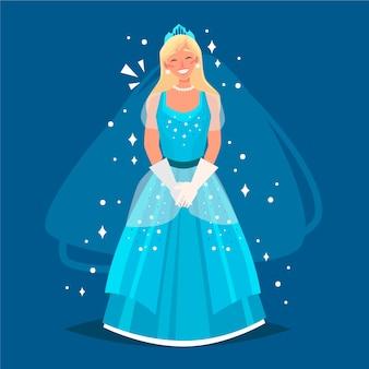 Piękna kopciuszek w niebieską sukienkę