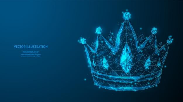 Piękna korona z bliska. genialna królewska dekoracja. koncepcja biznesowa, przywództwo. innowacyjna medycyna i technologia. 3d model szkieletowy low poly ilustracja.