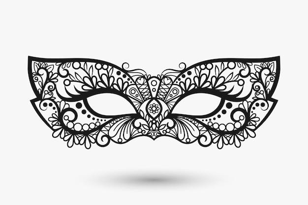 Piękna koronkowa maska. ikona maski mardi gras. ilustracja