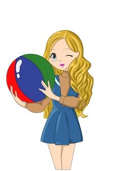 Piękna kreskówka grils żółte włosy trzymające piłkę