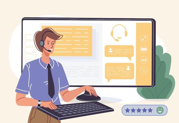 Piękna kreskówka płaska postać wsparcia online na ekranie monitora pomocy na czacie na żywo