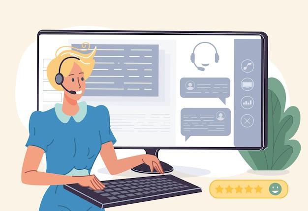 Piękna kreskówka płaska postać zespołu wsparcia online na ekranie monitora pomocy na czacie na żywo