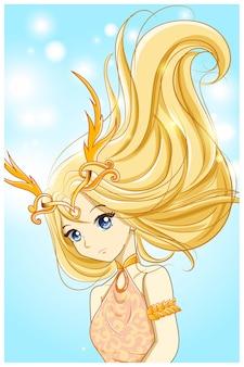 Piękna królowa ze złotymi włosami i ilustracją korony złotego rogu