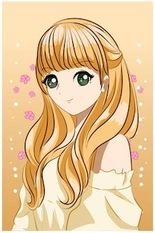 Piękna księżniczka blond włosy ilustracja kreskówka