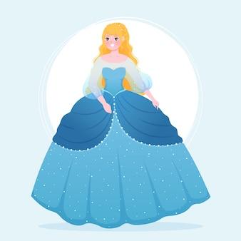 Piękna księżniczka kopciuszek w niebieskiej sukience