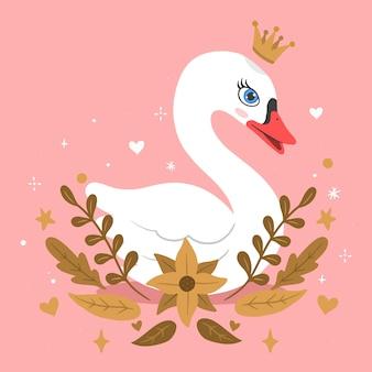 Piękna księżniczka łabędź z koroną