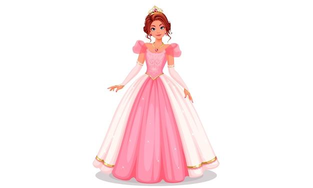 Piękna księżniczka stoi w pięknej długiej różowej sukience ilustracji