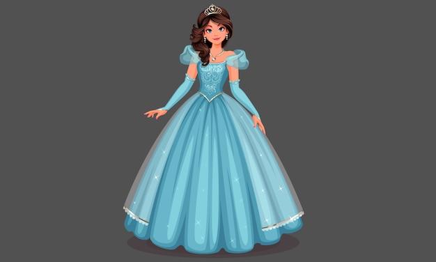 Piękna księżniczka w niebieskiej sukience