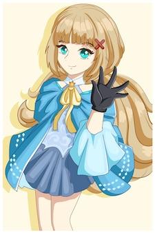 Piękna księżniczka z długimi włosami i niebieskim kostiumem