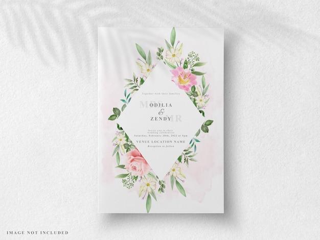 Piękna kwiecista karta zaproszenie na ślub