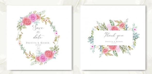 Piękna kwiecista rama na zaproszenie na ślub i dziękuję karty