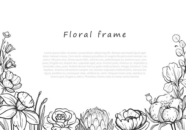 Piękna kwiecista rama pozioma wektorowa kwiecista rama z liniowymi czarnymi ilustracjami kwiatów