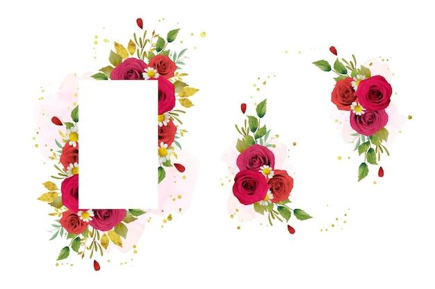 Piękna kwiecista rama z akwarela czerwonymi różami