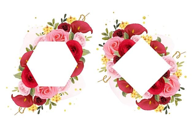 Piękna kwiecista rama z akwarelową czerwoną różą lilii i kwiatem jaskier
