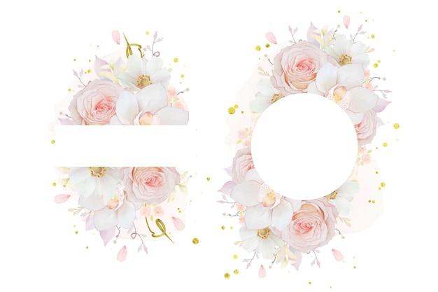 Piękna kwiecista rama z akwarelową różową orchideą i anemonowym kwiatem