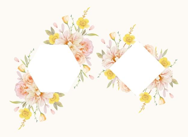Piękna kwiecista rama z akwarelowymi różami i dalią