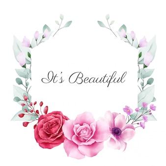 Piękna kwiecista rama z kolorową dekoracją w kwiaty do kompozycji kart