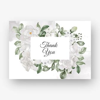 Piękna kwiecista ramka na ślub z białym kwiatem gardenii