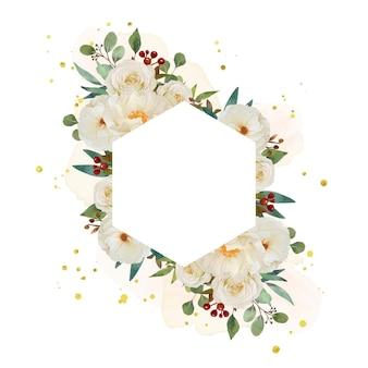 Piękna kwiecista ramka z akwarela białą różą i kwiatem piwonii