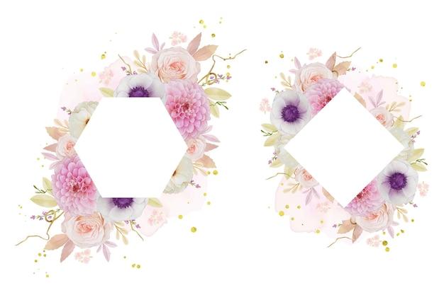 Piękna kwiecista ramka z akwarelą różanej dalii i anemonowego kwiatu