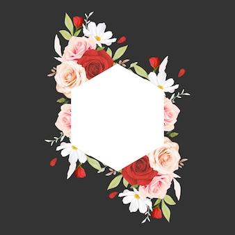 Piękna kwiecista ramka z akwarela różowe i czerwone róże