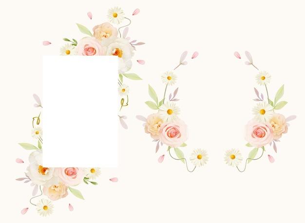 Piękna kwiecista ramka z akwarela różowe róże i biała piwonia