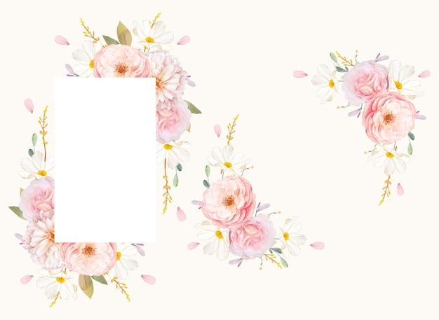 Piękna kwiecista ramka z akwarela różowe róże i dalia